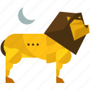 animal, jungle, king, lion, moon, nature, savannah icon