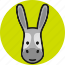 animal, cute, donkey, face, logo, wild, zoo icon