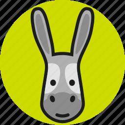 animal, cute, donkey, face, logo, wild, zoo icon