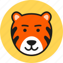 animal, cute, face, logo, tiger, wild, zoo icon