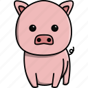 animal, cute, domestic, farm, nature, pig icon