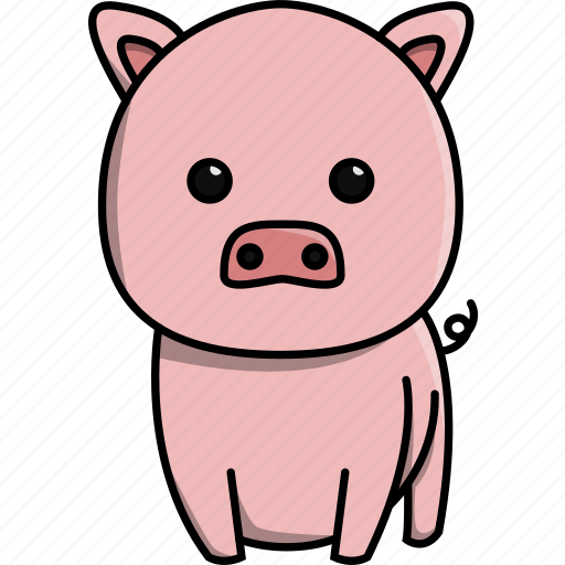 animal, cute, domestic, farm, nature, pig icon