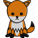 animal, cute, fox, jungle, nature, zoo icon