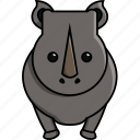 africa, animal, cute, nature, rhinoceros, zoo icon