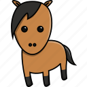 animal, cute, domestic, farm, horse, nature icon