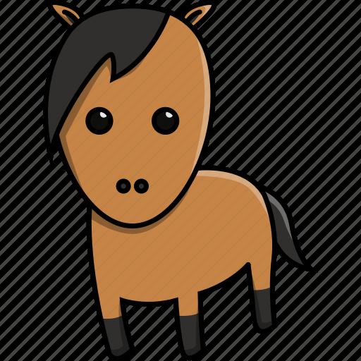 animal, cute, domestic, farm, horse, nature icon