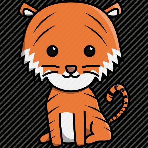 animal, cute, jungle, nature, tiger, zoo icon