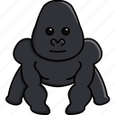 africa, animal, cute, gorilla, jungle, nature, zoo icon