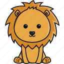 cute, nature, africa, zoo, lion, jungle, animal icon