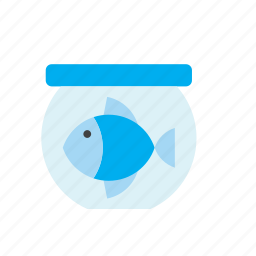 animal, bowl, fish, goldfish, pet, tank icon