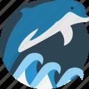 aquatic, creature, dolphin, mammal, marine, sea, waves icon