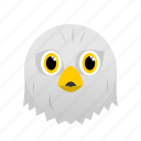 animal, bird, eagle, face, white, wild icon
