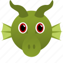animal, dragon, face, fantasy, green icon