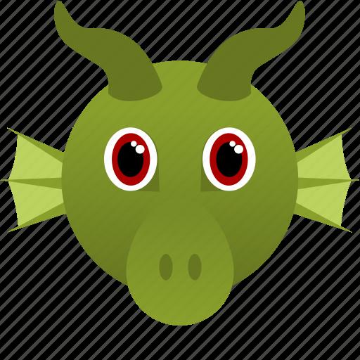 animal, dragon, face, fantasy, green icon