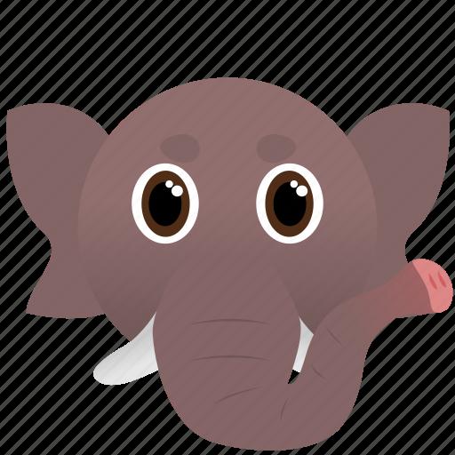 africa, animal, elephant, face, wild icon