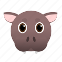 animal, big, face, hippo, pink, wild icon