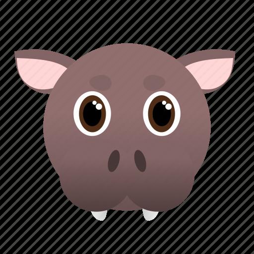 animal, big, face, hippo, pink, wild icon