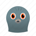 animal, bird, dove, face, gray icon