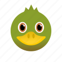 animal, duck, face, green, wild icon