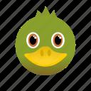 animal, duck, face, green, wild