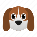animal, beagle, dog, domestic, face, pet icon