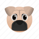 animal, dog, domestic, face, pet, pug icon