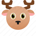 animal, deer, face, wild, xmas icon