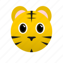 animal, face, tiger, wild, yellow icon