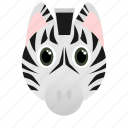 animal, dark, face, white, wild, zebra icon