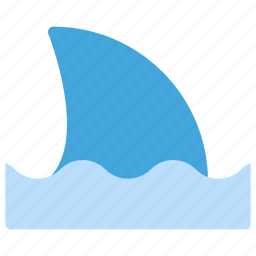animals, danger, nature, sea, shark, wave icon