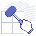 dalle, laying, mallet, tiles icon