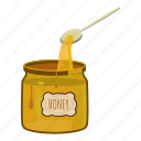 cartoon, food, glass, honey, jar, spoon, sweet icon