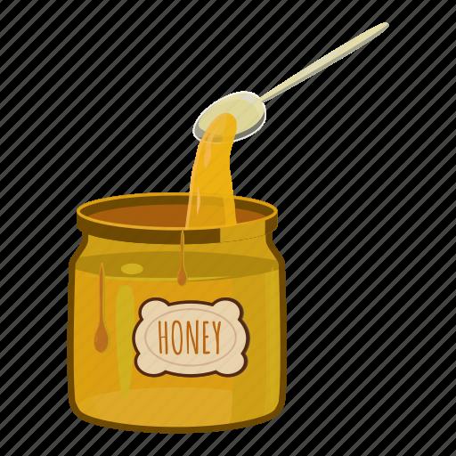 cartoon, food, glass, honey, jar, spoon, sweet icon