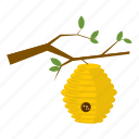 beehive, cartoon, hexagon, honey, nature, sweet, tree icon