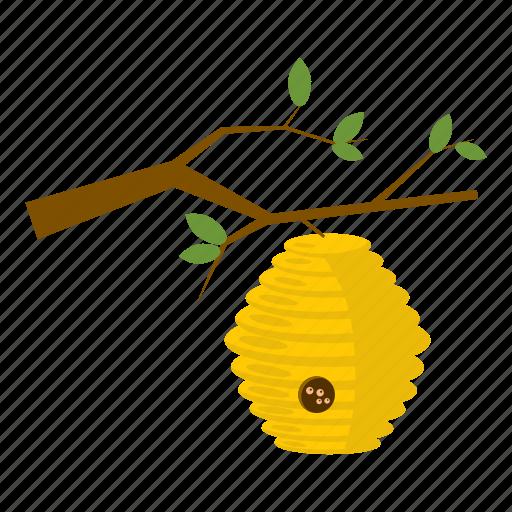 beehive, cartoon, hexagon, honey, nature, sweet, tree icon