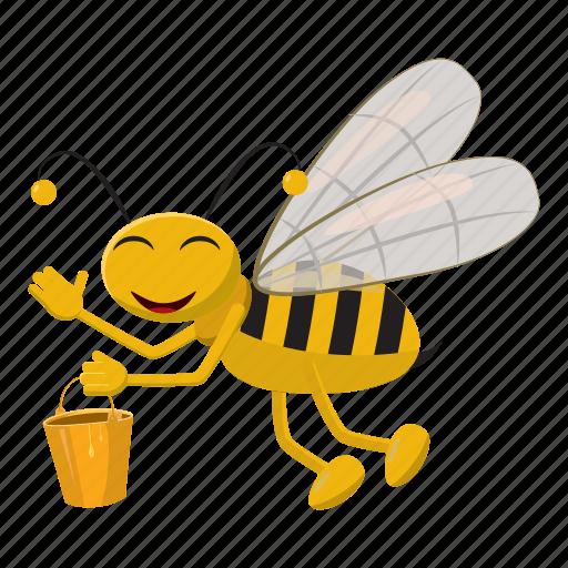 bee, bucket, cartoon, fly, honey, insect, yellow icon