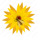 bee, cartoon, collect, flower, honey, nature, pollination icon