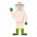 agriculture, apiary, bee, beekeeper, cartoon, honey, organic icon