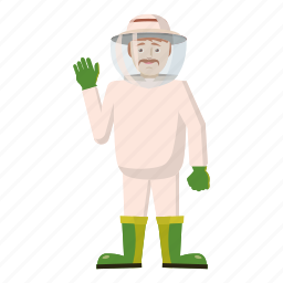 agriculture, apiary, bee, beekeeper, cartoon, honey, organic icon