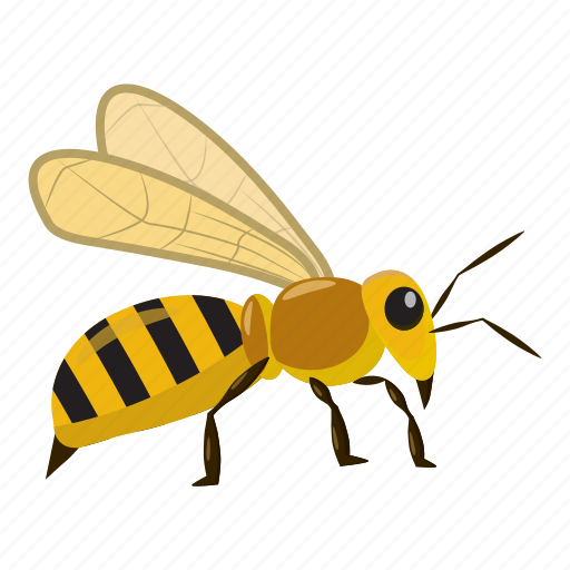 bee, cartoon, fly, honey, insect, nature, yellow icon