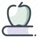apple, book, education, knowledge, read, school, study icon