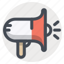 advertising, announcement, marketing, megaphone, promotion, speaker icon