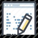 browser, content, development, edit, keyword, seo, writer icon