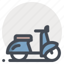 maintenance, quality, repair, scooter, service, travel, vehicle icon
