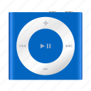 apple, blue, ipod, mp3, multimedia, music, shuffle icon