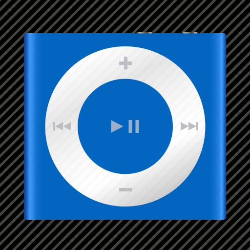 apple, blue, ipod, mp3, multimedia, music, shuffle icon
