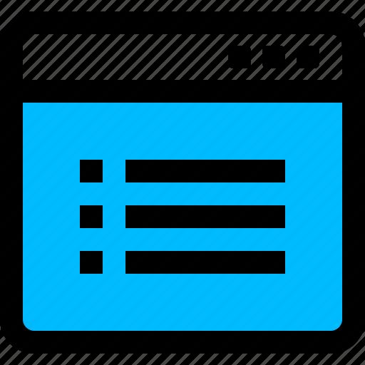 application, list, view, window icon