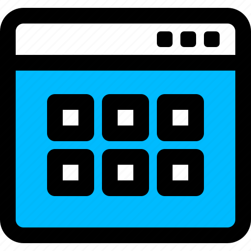 application, gallery, thumbnails, tile, view, window icon