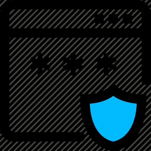 login, password, secure, shield, window icon