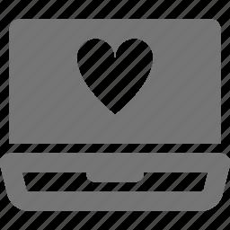 heart, laptop, like icon